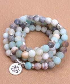 Frosted Amazonite Lotus Mala